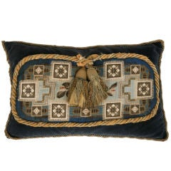 Circa 1880 Antique English Folk Art Hand-Beaded Pillow-Blue Shades