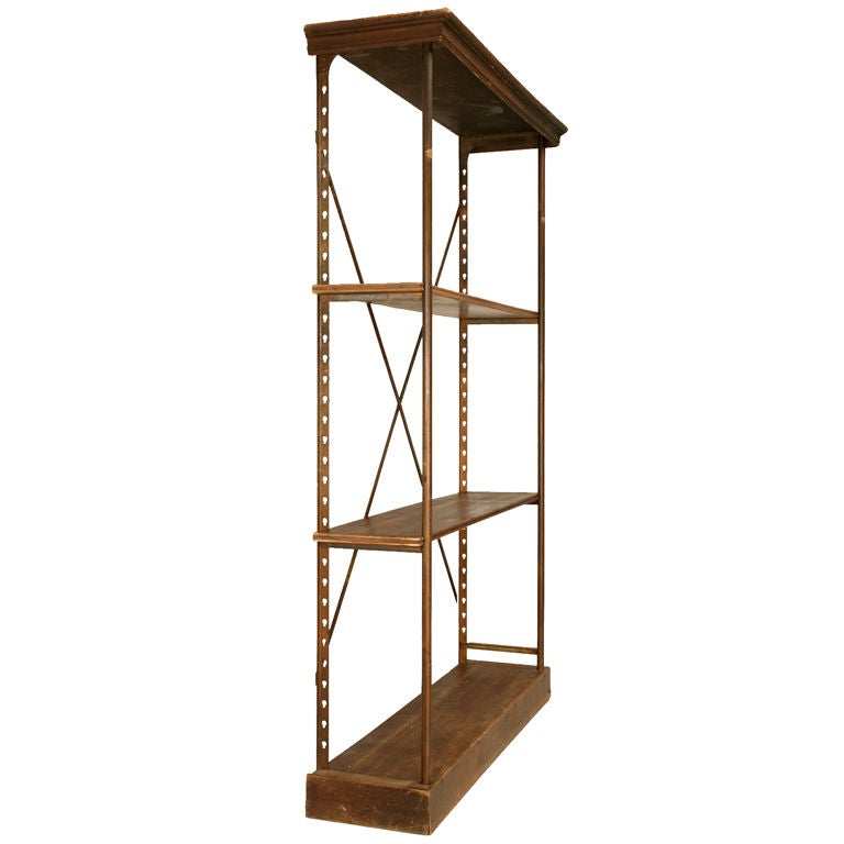 circa 1900 original rustic french wood and steel shelving. Black Bedroom Furniture Sets. Home Design Ideas