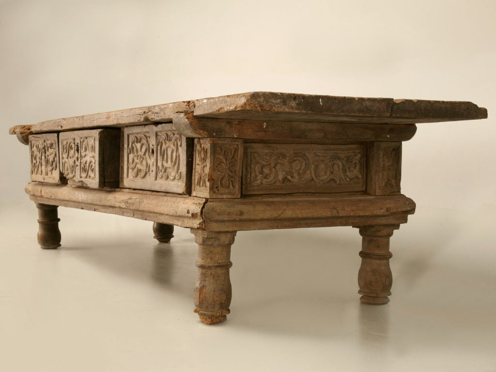 Rustic original hand carved spanish coffee table w 3 drawers at 1stdibs Coffee tables rustic