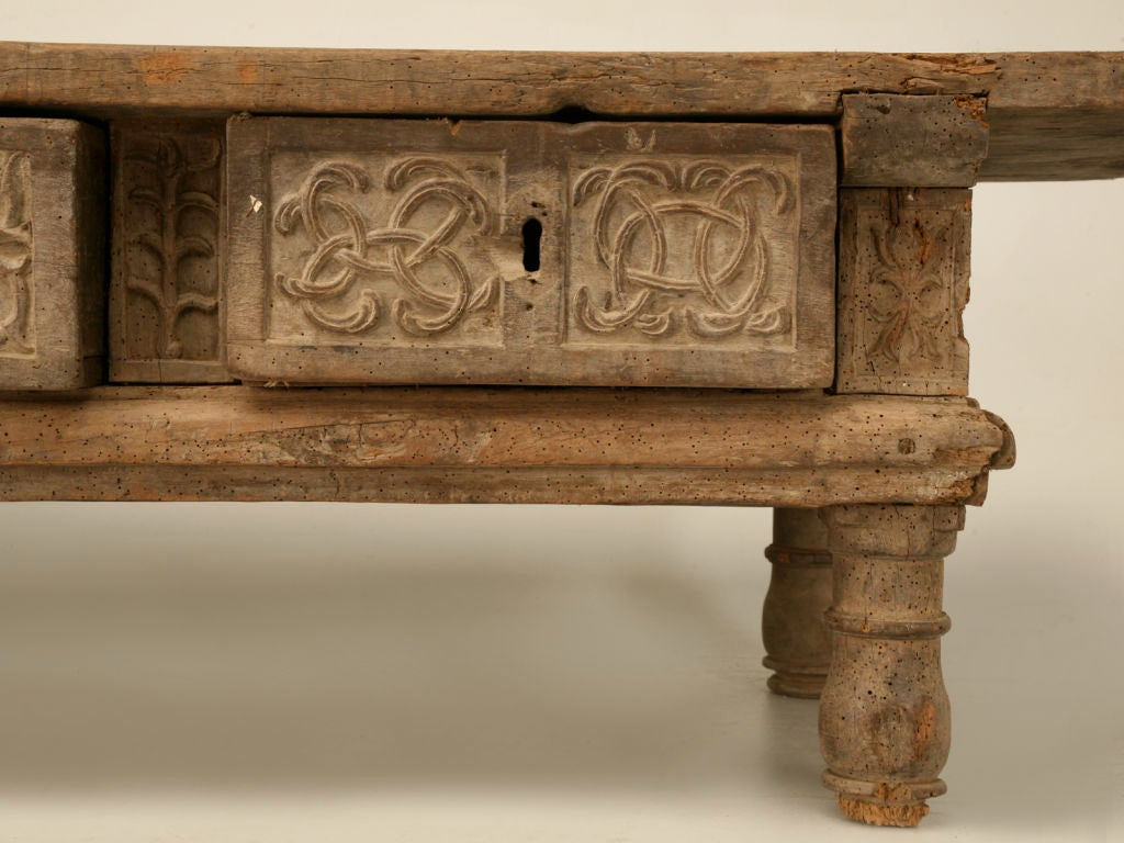 Rustic Original Hand Carved Spanish Coffee Table W 3 Drawers Image 7