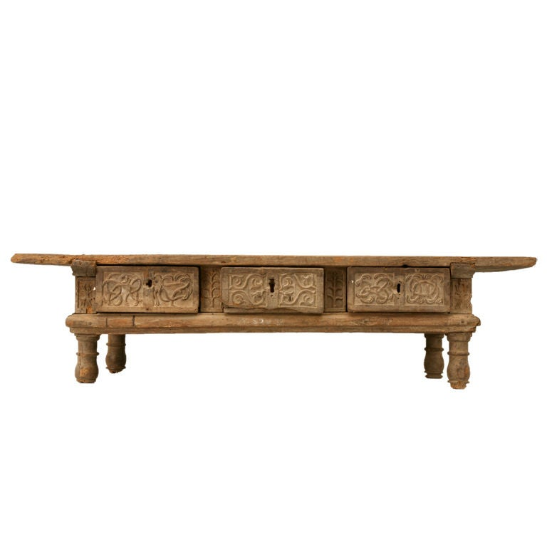 Rustic original hand carved spanish coffee table w 3 drawers at 1stdibs Hand carved coffee table