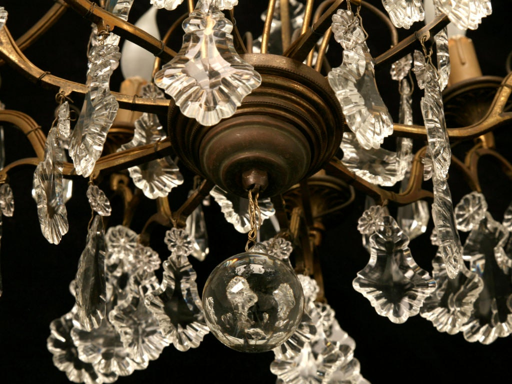 Circa 1930 French Bronze & Hand-Cut Crystal 10 Light Chandelier For Sale 6