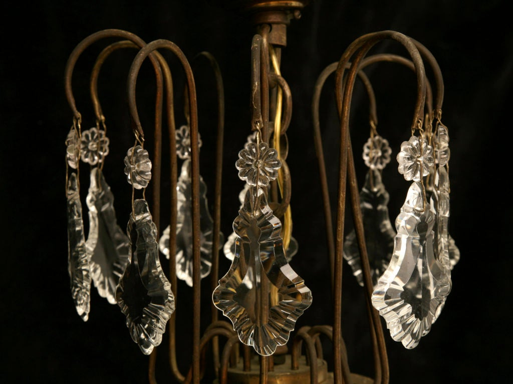 Circa 1930 French Bronze & Hand-Cut Crystal 10 Light Chandelier In Good Condition For Sale In Chicago, IL