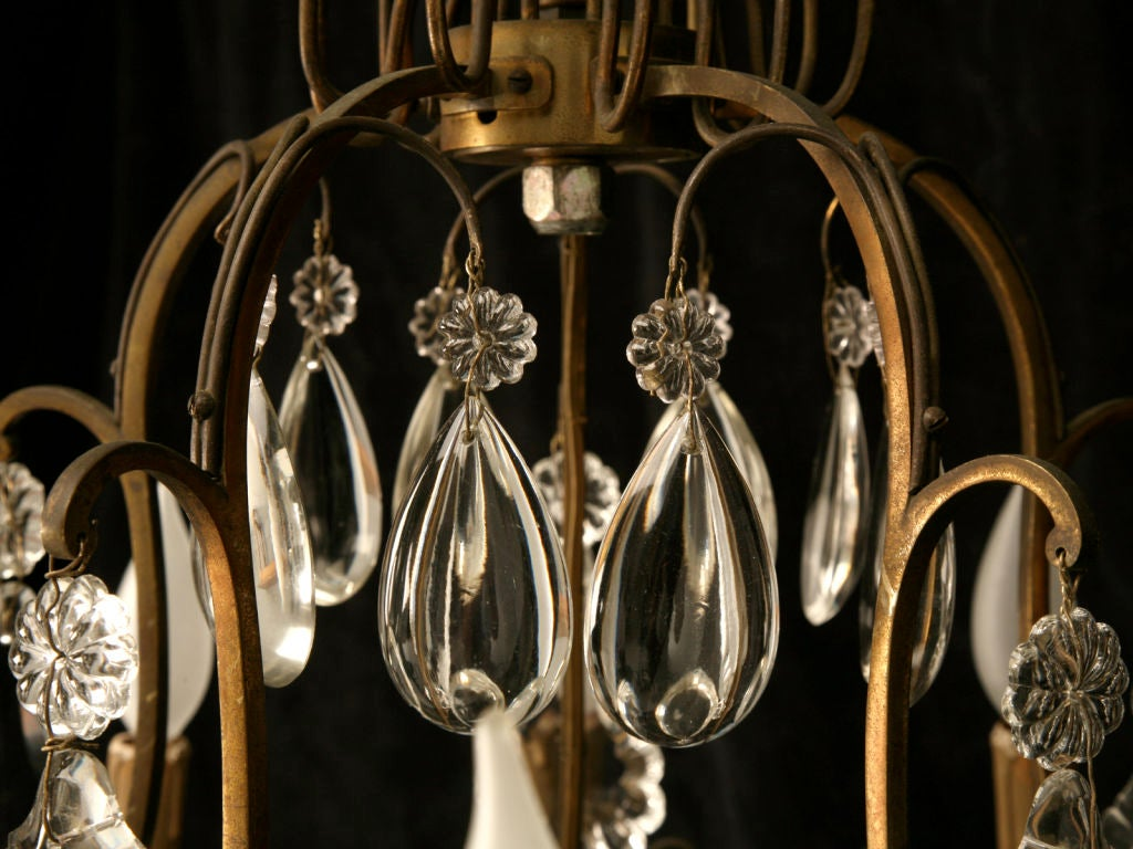 Mid-20th Century Circa 1930 French Bronze & Hand-Cut Crystal 10 Light Chandelier For Sale