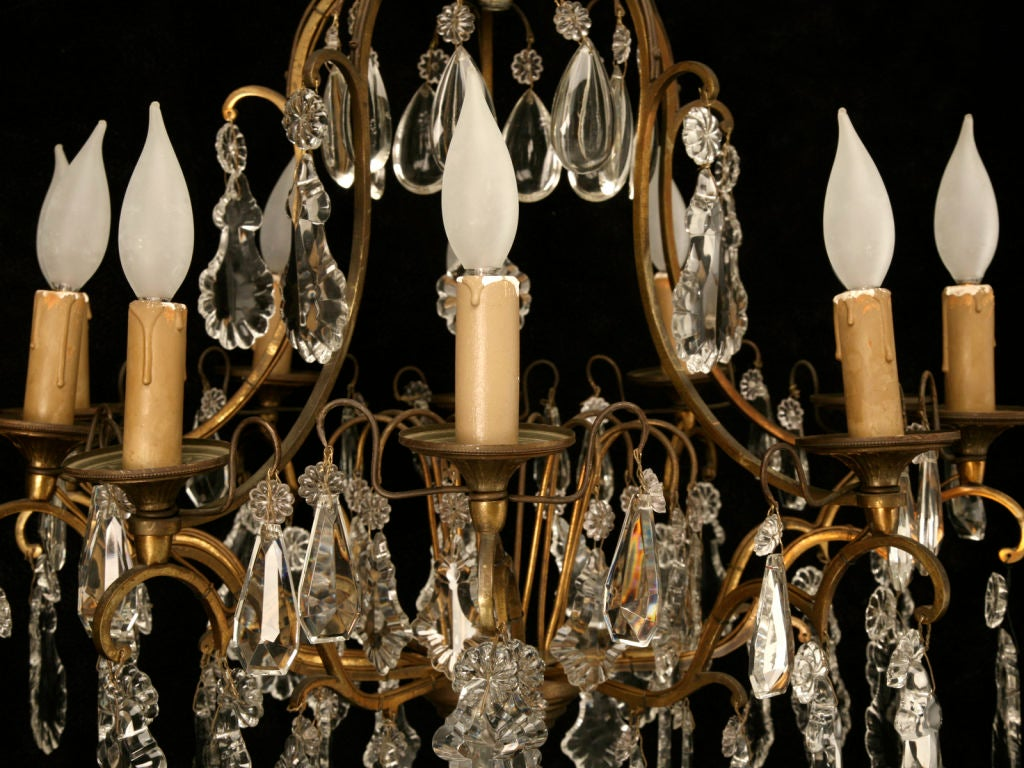 Circa 1930 French Bronze & Hand-Cut Crystal 10 Light Chandelier For Sale 2