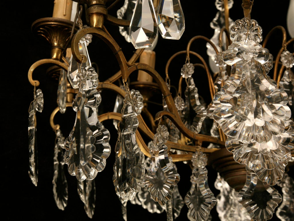 Circa 1930 French Bronze & Hand-Cut Crystal 10 Light Chandelier For Sale 3