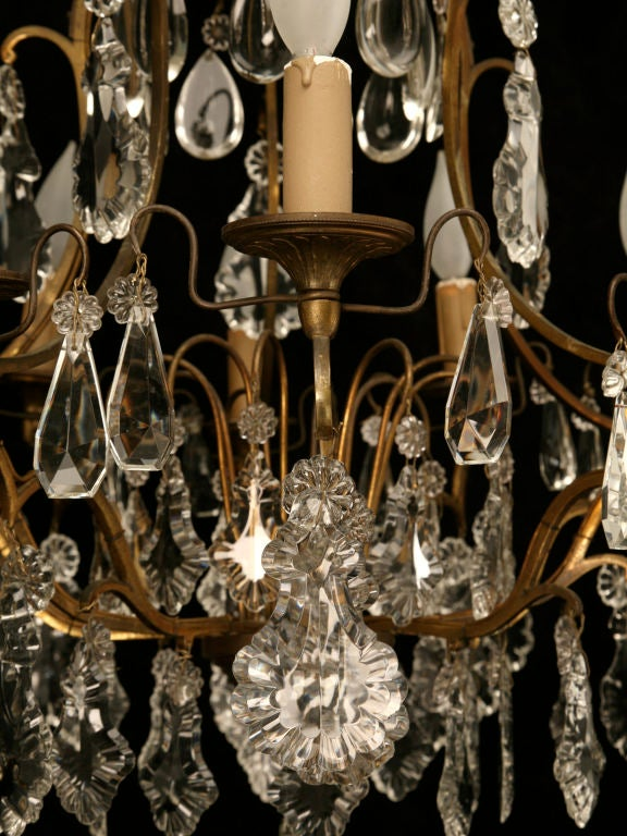 Circa 1930 French Bronze & Hand-Cut Crystal 10 Light Chandelier For Sale 4