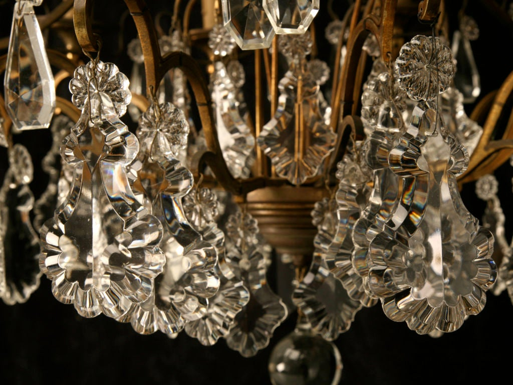 Circa 1930 French Bronze & Hand-Cut Crystal 10 Light Chandelier For Sale 5