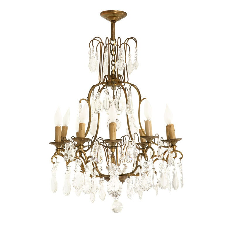 Circa 1930 French Bronze And Hand Cut Crystal 10 Light