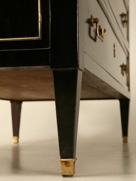 Antique French Louis XVI Ebonized Mahogany 3 over 3 Commode w/Marble For Sale 6