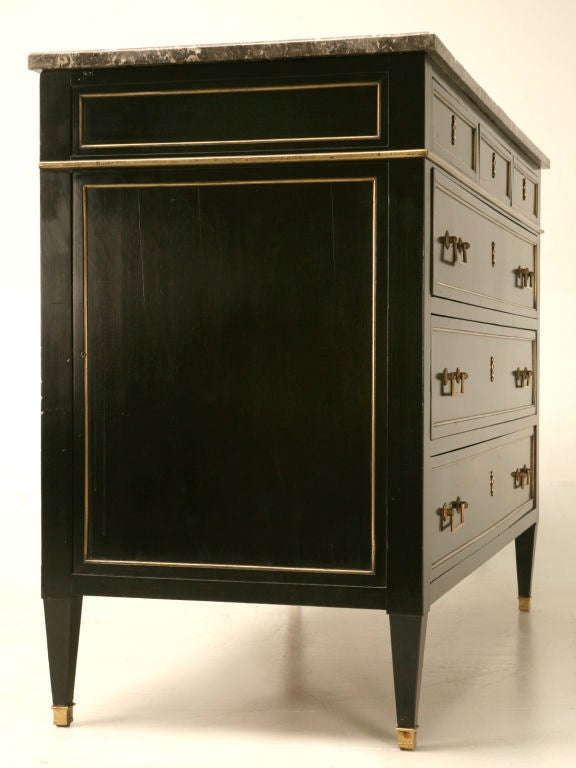 Antique French Louis XVI Ebonized Mahogany 3 over 3 Commode w/Marble For Sale 1