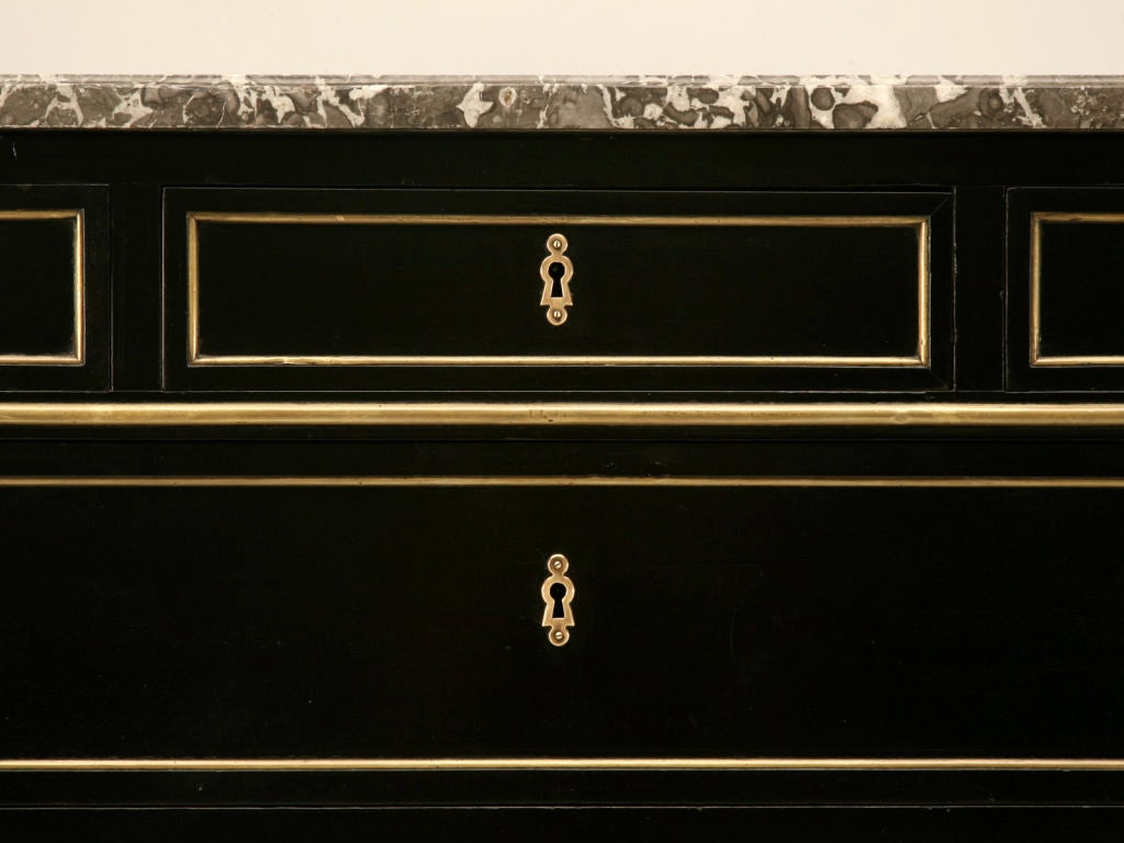Antique French Louis XVI Ebonized Mahogany 3 over 3 Commode w/Marble For Sale 3