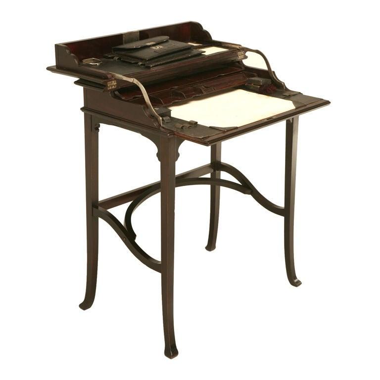 c.1890 Antique Austrian Mahogany Flip-Top Campaign Desk For Sale - C.1890 Antique Austrian Mahogany Flip-Top Campaign Desk For Sale At