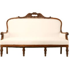 "Restored Antique French ""Restauration"" Figured Walnut Settee"