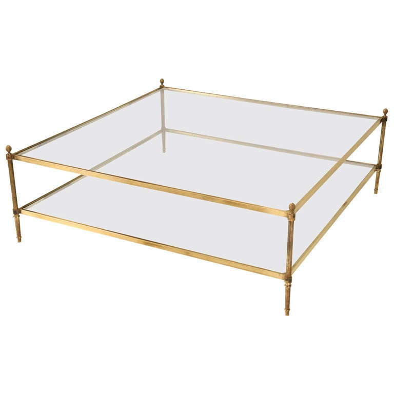 """Two Tiered Brass And Glass Coffee Table: Classic Vintage French 55"""" Square Two Tier Brass Coffee"""