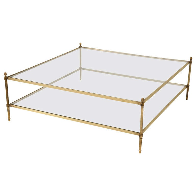 Classic Vintage French 55 Square Two Tier Brass And Glass Coffee Table W Finials At 1stdibs