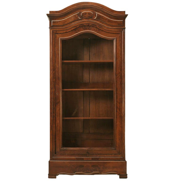 Opulent Antique French Glazed Crotch Mahogany Cabinet w/Hidden Drawer