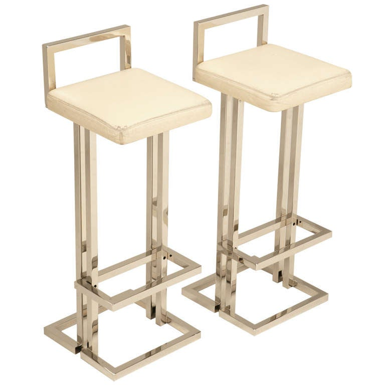 Circa Romeo Rega Chrome and Leather Bar Stools 1