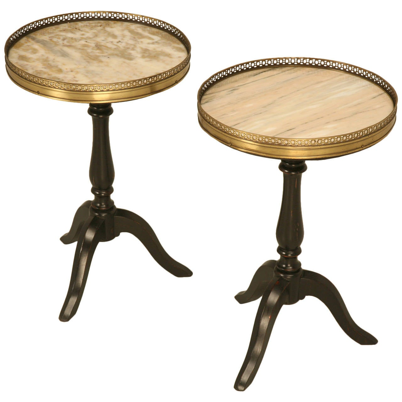 Petite Pair of French Wine Tables with Marble Tops
