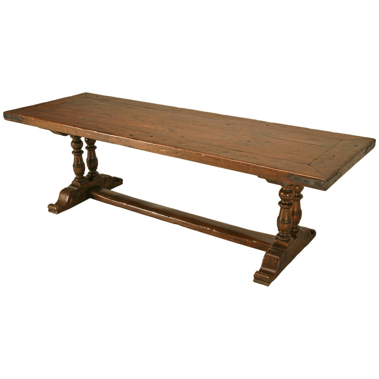 French white oak trestle dining table with steel edges for Trestle dining table