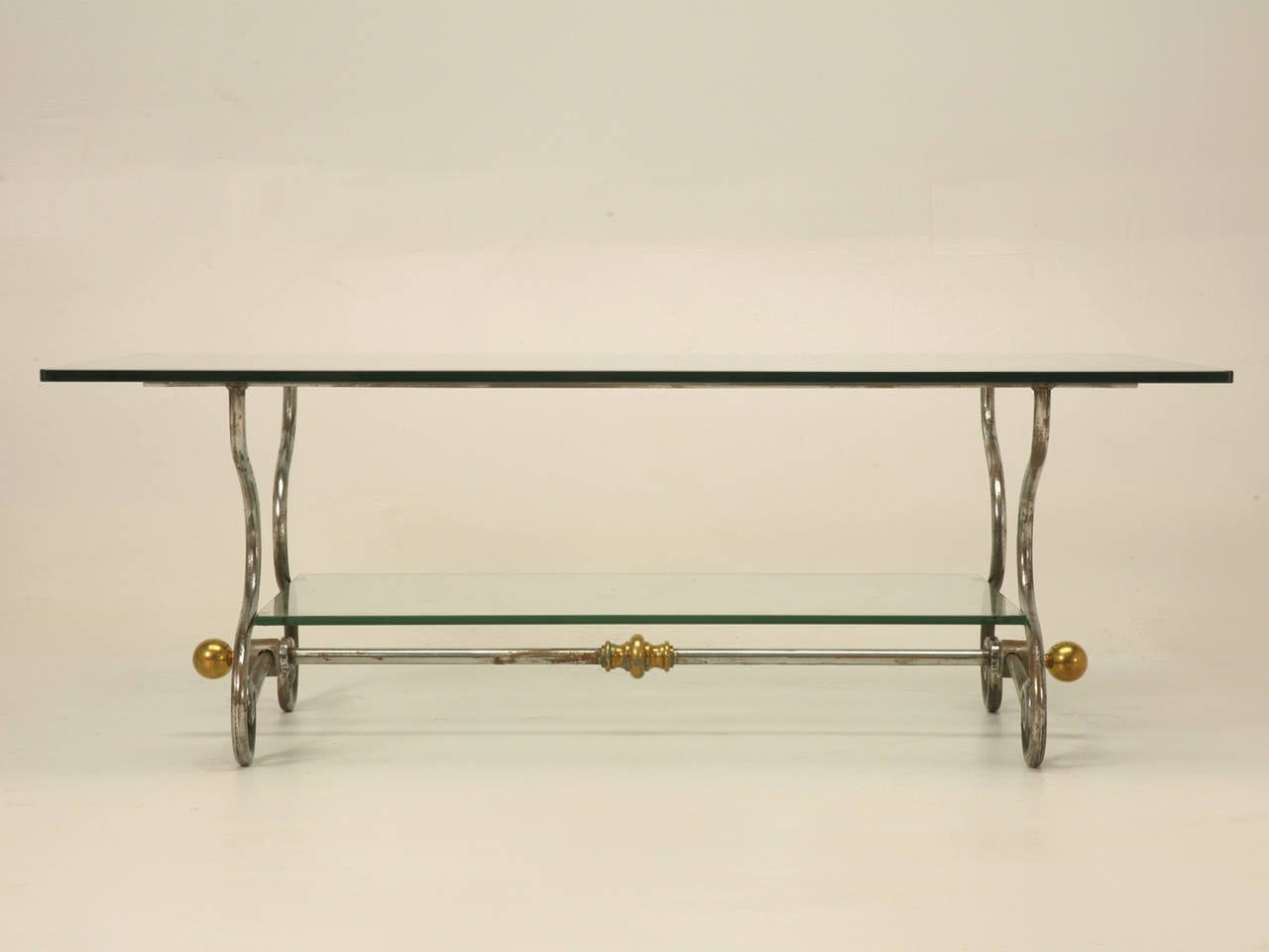 French Glass Steel And Brass Two Tier Coffee Table For Sale At 1stdibs