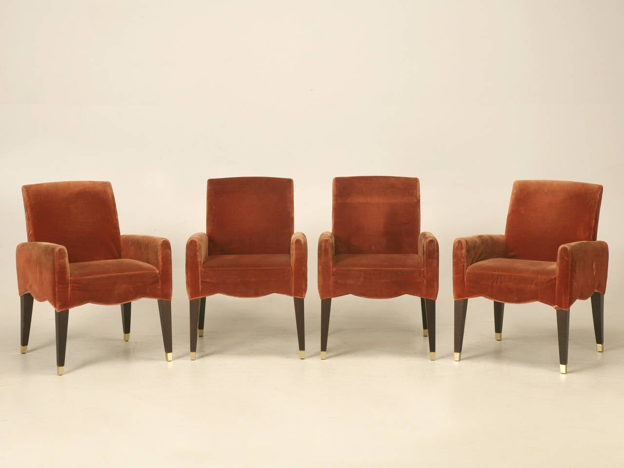 Unusual suite of (4) armchairs known as the model; Café Marly and probably produced in the mid-1980's. Born in 1952, Olivier Gagnère is a self-taught designer of ceramics, furniture, glass, interior design, metalwork, and product design. His