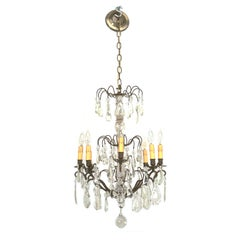 Vintage French Crystal and Bronze 8 Light Chandelier