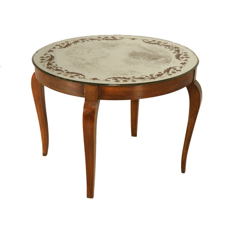 Mirrored Coffee Table Sale: Petite French Forties Eglomise Mirrored Cocktail Table At