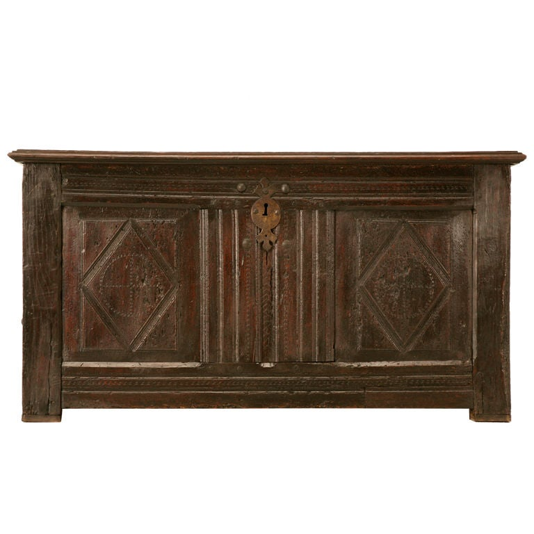 Original Rustic Antique French Carved Two-Panel Coffer
