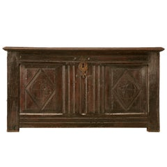 Original Rustic Antique French Carved Two-Panel Coffer or Trunk