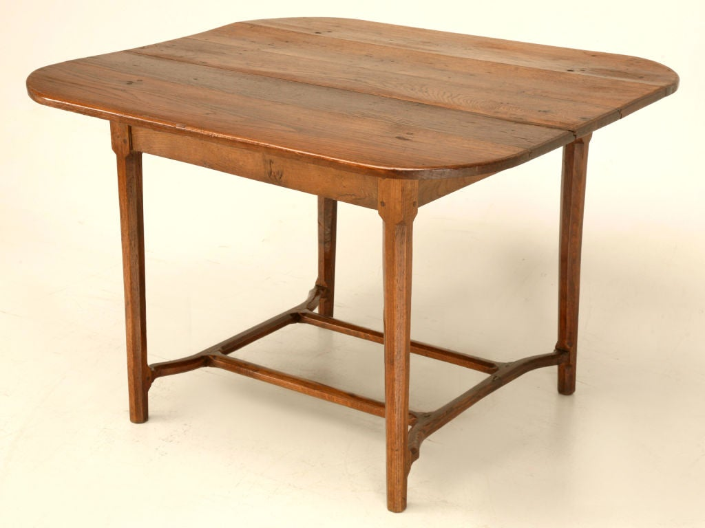 Antique french solid white oak table w unique stretcher at for Unusual oak dining tables