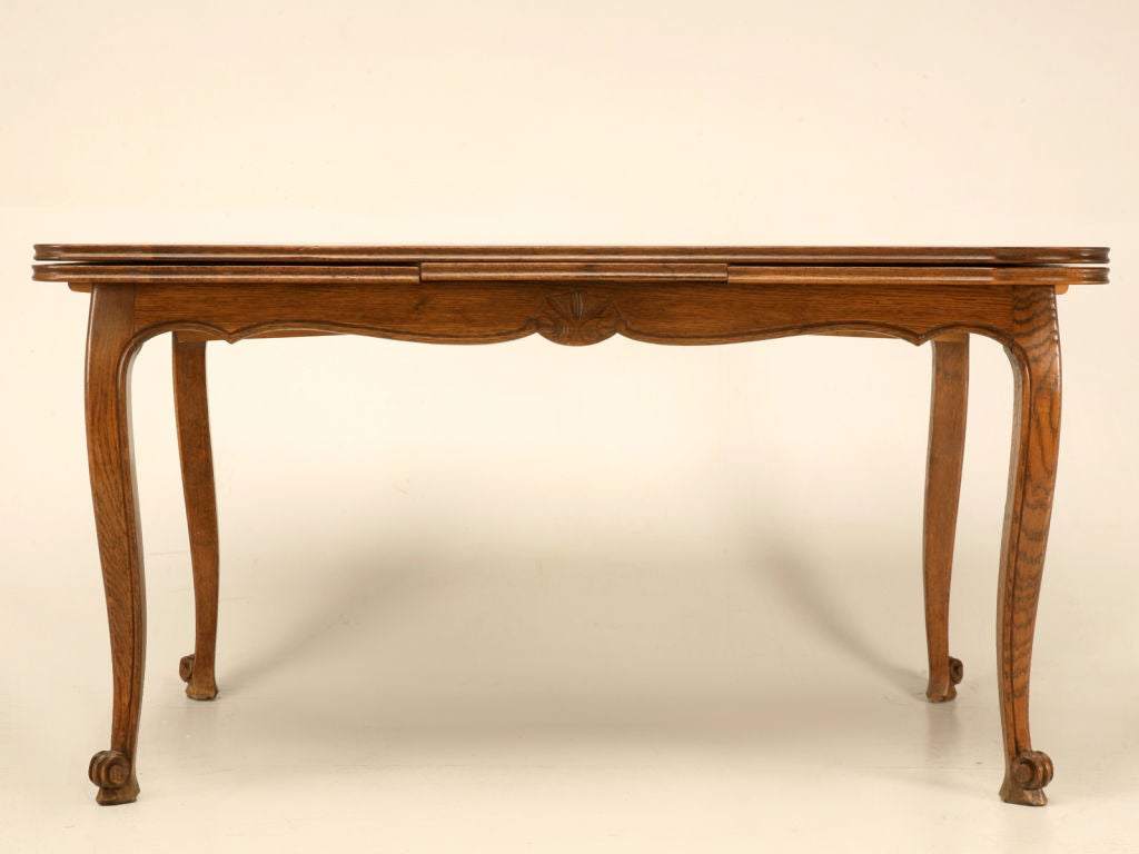"55"" Vintage French Oak Louis XV Extending (94"") Draw-Leaf Dining Table image 2"