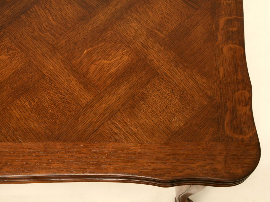 "55"" Vintage French Oak Louis XV Extending (94"") Draw-Leaf Dining Table image 7"