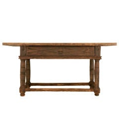Original Early 17th C Rustic Spanish Console/Work Table w/Drawer