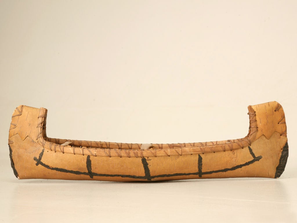 Vintage Native American Indian Birch Bark Toy Canoe 2