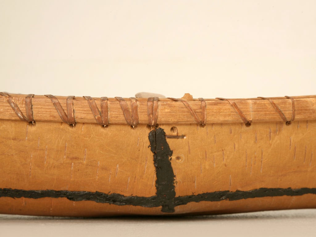 Vintage Native American Indian Birch Bark Toy Canoe 5