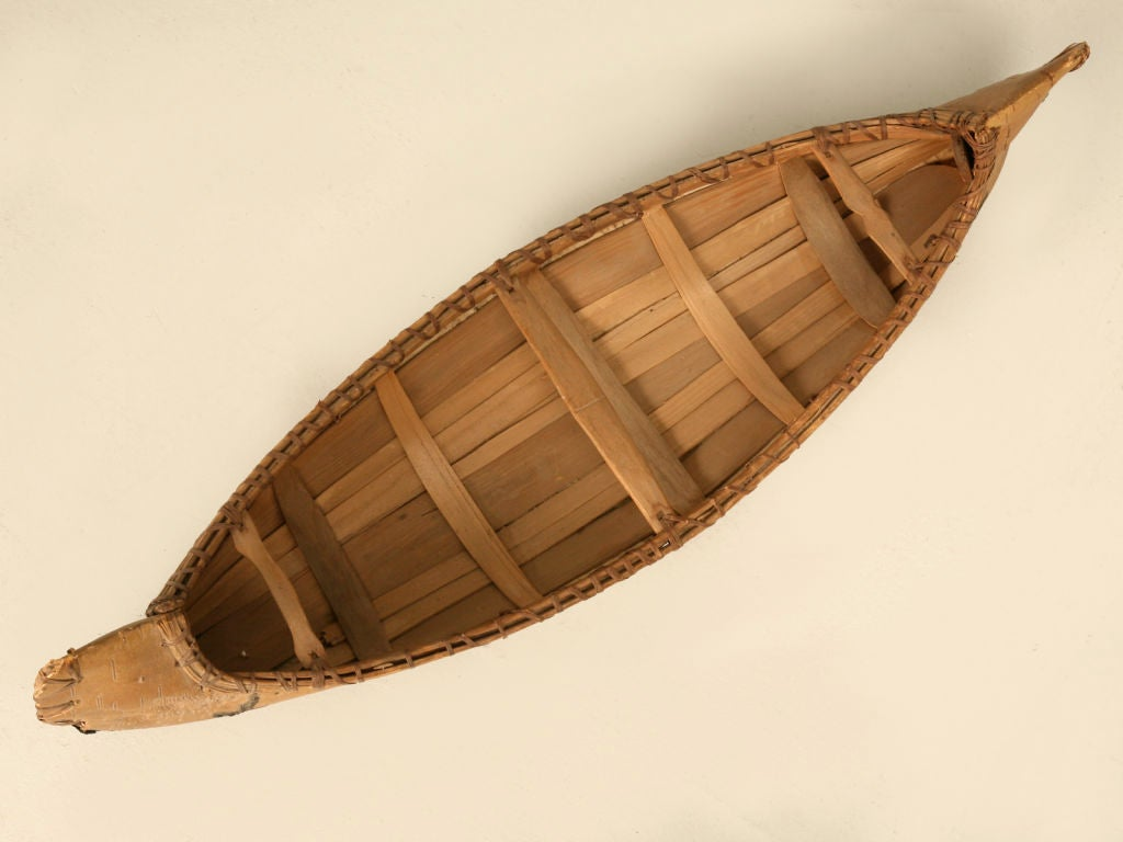 Vintage Native American Indian Birch Bark Toy Canoe 7
