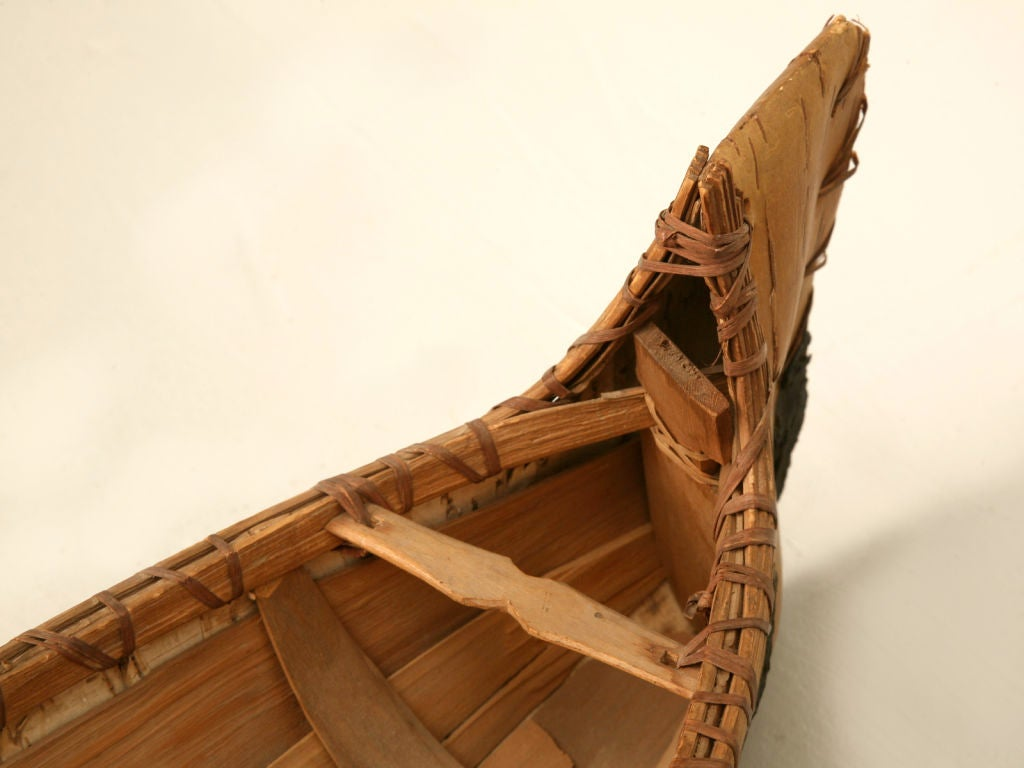 Vintage Native American Indian Birch Bark Toy Canoe 8