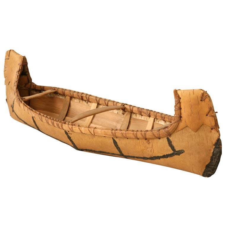 Vintage Native American Indian Birch Bark Toy Canoe 1