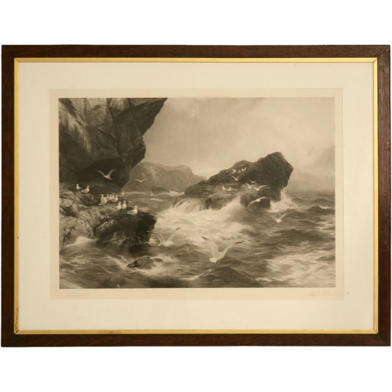 Signed Original 19th Century Lithograph of Waves Crashing-Framed