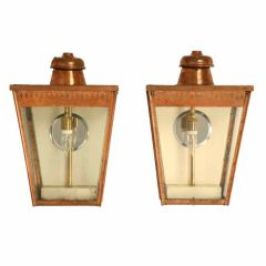 Restored Pair of Original Antique English Copper Wall Lanterns