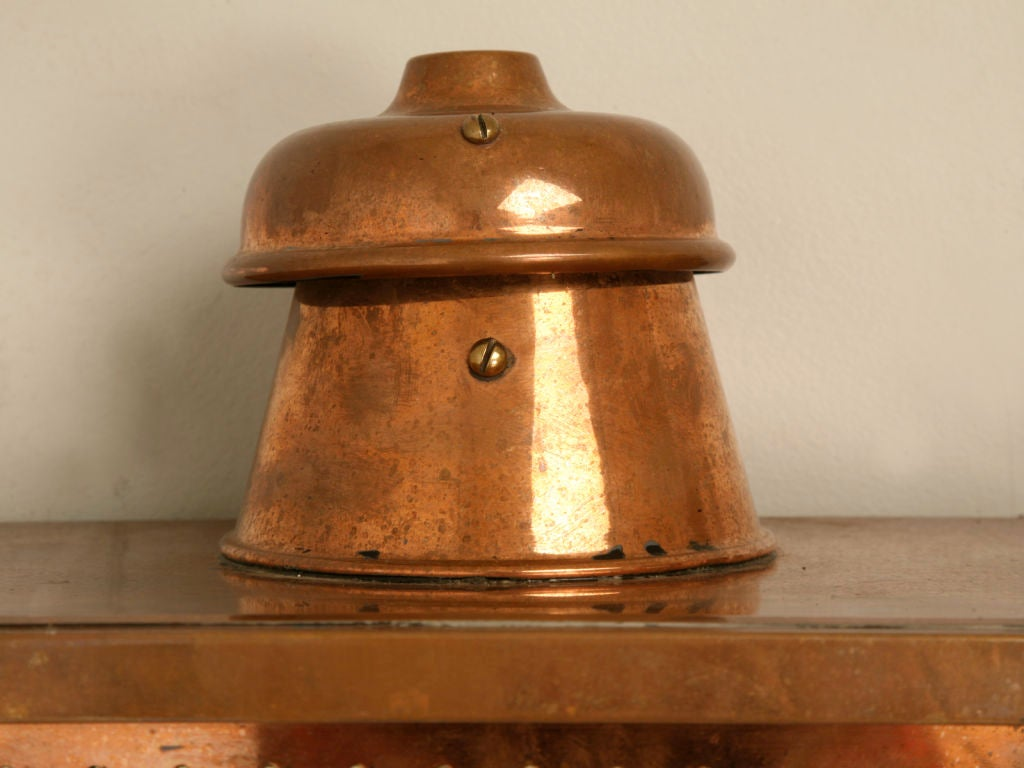 19th Century Restored Pair of Original Antique English Copper Wall Lanterns For Sale