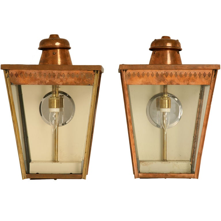 Restored Pair of Original Antique English Copper Wall Lanterns For Sale
