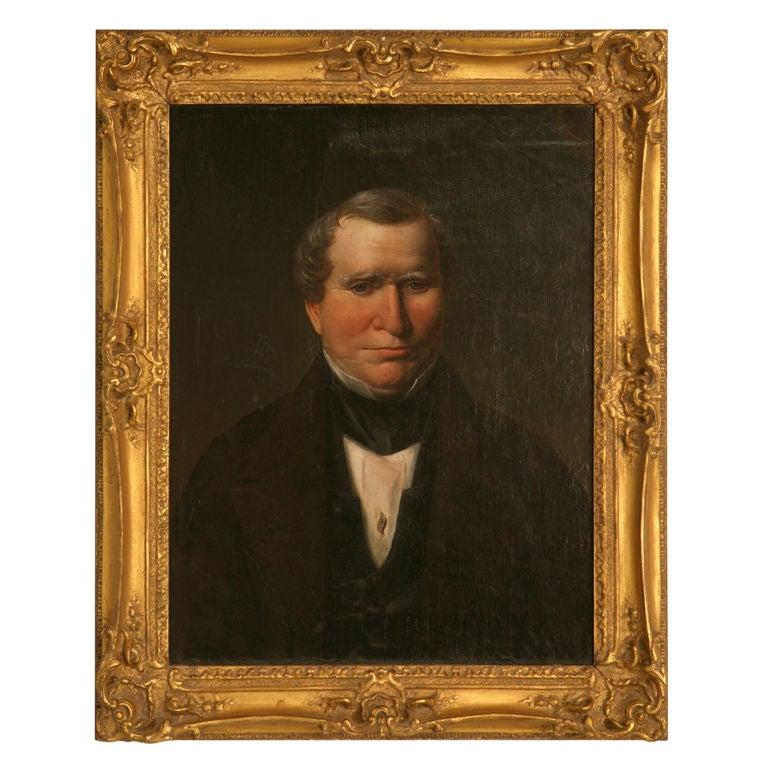 Original Antique Painted Portrait of a Gentleman on Canvas