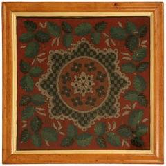 Framed Antique English Folk Art Hand-Beaded Victorian Panel