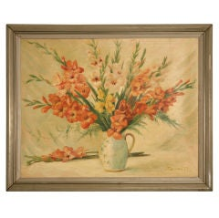 Vintage French Gladiola Still Life Painting