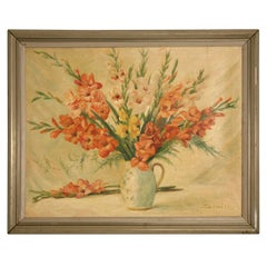 Vintage French Gladiola Still Life Painting