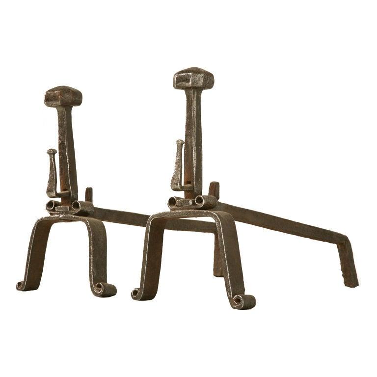 Pair of Original English Arts & Crafts Hand-Forged Iron Andirons