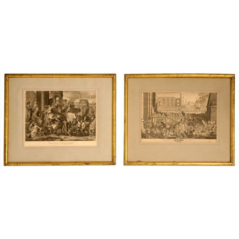 Pair of Original Antique French Triumph Etchings