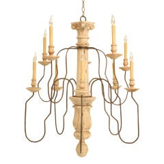 Large Antique Italian Hand-Carved 10 Light Chandelier (1 of 2)